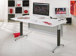 Büroschreibtisch, ergonomisch, weiß