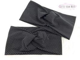 Stirnband mit Punkten schwarz