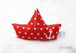 Schiffchenrassel rot mit weißen Sternen