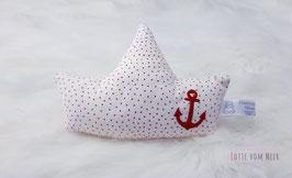 Schiffchenrassel weiß mit roten Punkten