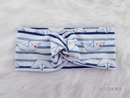 Stirnband mit Booten weiß/blau geringelt