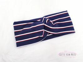 Stirnband Streifen maritim dunkelblau