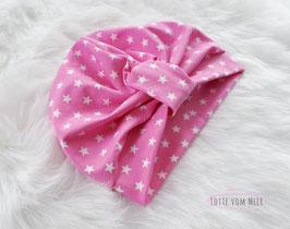 Turbanmütze Pink mit Sternen