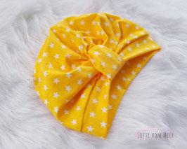 Turbanmütze  gelb mit weißen Sternen KU 44/46