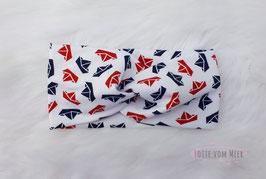 Stirnband mit Booten in rot und schwarz