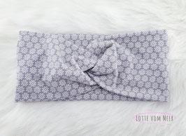 Stirnband weiß mit  Blumen auf grau