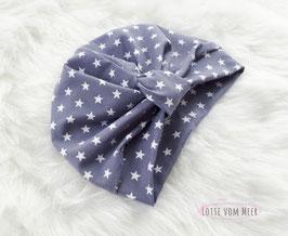 Turbanmütze grau mit weißen Sternen