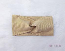 Stirnband senfgelb und weiß geringelt