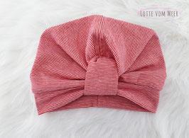 Turbanmütze rot/weiß geringelt