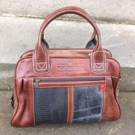 Margelisch Mireini Damenhandtasche Leder/Schlauch A4 braun/schwarz