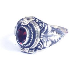 """Zilveren """"gif""""ring met edelsteen en klepje 031"""