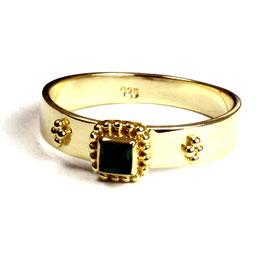 Gold plated zilveren ring met groene kwarts