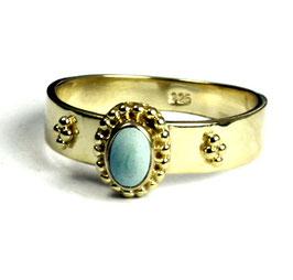 Gold plated zilveren ring met turkoois