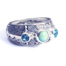 Ring zilver met edelsteen 030