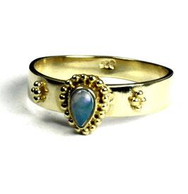 Gold plated zilveren ring met opaal