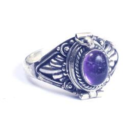 """""""Gif""""ring zilver met edelsteen en klepje 034"""