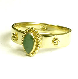 Gold plated zilveren ring met smaragd