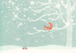 Postkarte Eichhörnchen im Winterwald