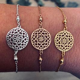 Armkette mit Blumenamulett Silber, Vergoldet & Rosé vergoldet