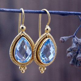 Ohrhänger mit Blauem Topas Silber vergoldet
