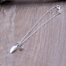 Armkette 1,8 mm mit Blatt & Steinchenanhänger