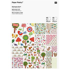 Bloc de papier A4 à motif - 30 feuilles- 2 grammages