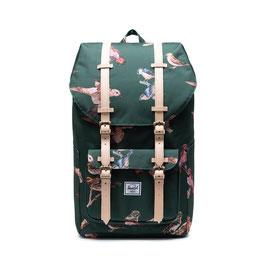 """HERSCHEL Little Amercia - Birds green - 25L - 1 compartiment intérieur pour Laptop 15"""" - 48,5x28x18cm"""