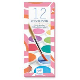Boîte gouache couleurs nacrées - 12 pastilles + 1 pinceau