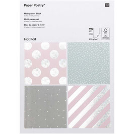 Bloc papier A4 à motif hologaphique- 20 feuilles - 2 /dessin- 270g/m²