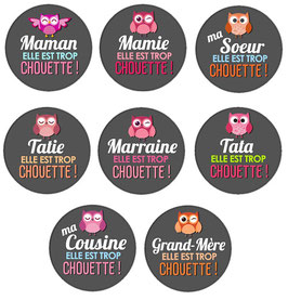 "Badge ""Famille chouette"""