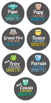 """Porte-clefs """"Famille chouette"""""""