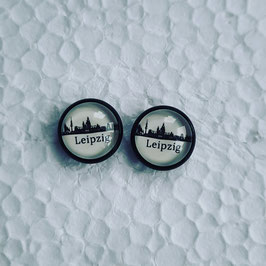12 mm Metall Ohrstecker Leipzig skyline