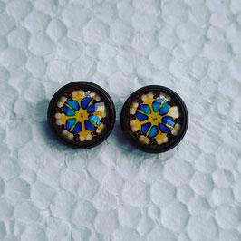 12 mm Metall Ohrstecker Blume blau gelb