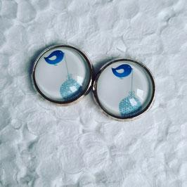 12 mm Metall Vogel mit Kugel blau auf weiß