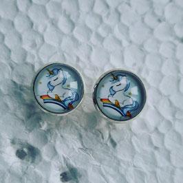 12 mm Metall Einhorn blau