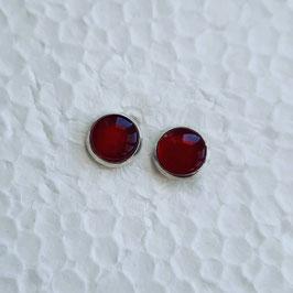 8 mm Metall Ohrstecker rot