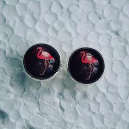 12 mm Metall Flamingo pink auf schwarz