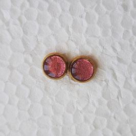 8 mm Metall Ohrstecker pink Glitzer mit goldfarbener Fassung