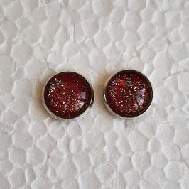 12 mm Metall rot mit Glitzer