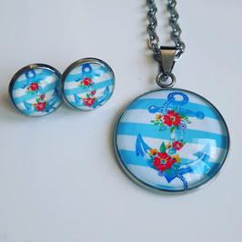 Anker hellblau mit Blume