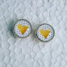 12 mm Metall Ohrstecker Herz gelb