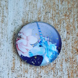 Einhorn blau mit rosa Blüte