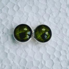 12 mm Metall Ohrstecker Blattstruktur grün
