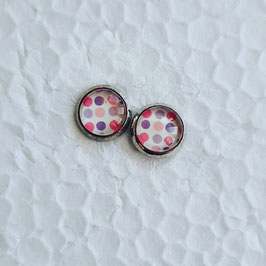 8 mm Metall Ohrstecker Punkte rosa lila pink