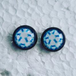 12 mm Metall Muster hellblau weiß