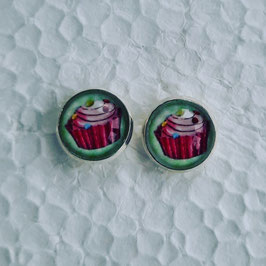 12 mm Metall Ohrstecker Cupcake