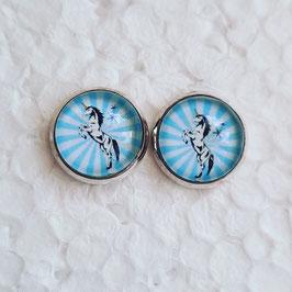 12 mm Metall Einhorn auf Hinterbeinen hellblau