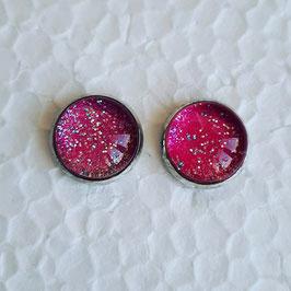 12 mm Metall pink mit Glitzer