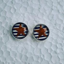 12 mm Metall Ohrstecker goldener Stern auf weiß blauen Linien