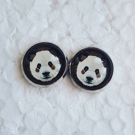 12 mm Metall Pandakopf auf braun